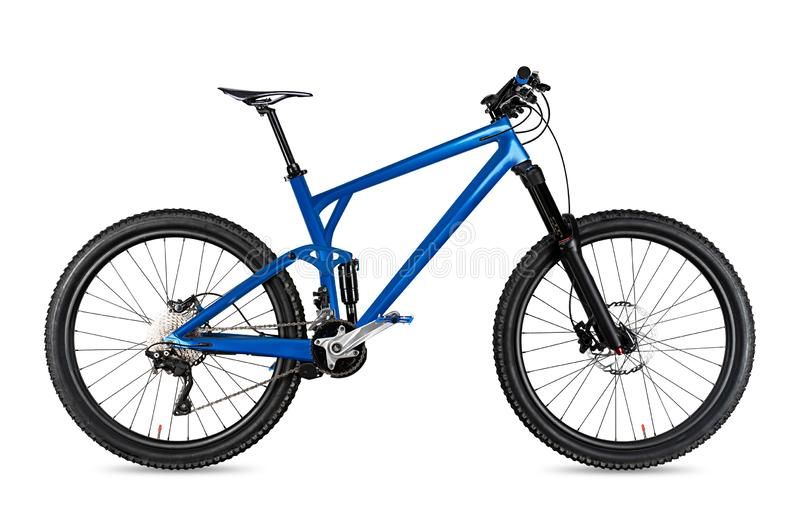 Blue enduro carbon all mountain bike with full supsension and 650b wheels. fully mountainbike for offroad bicycle extreme sport. Blue enduro carbon all mountain royalty free stock image
