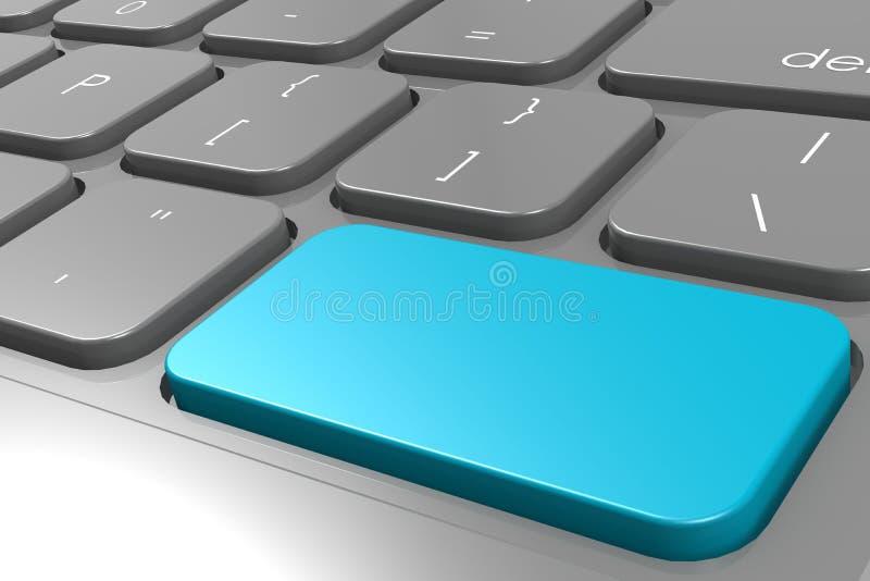 Blue enter button on black computer keyboard vector illustration