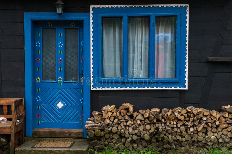 Blue entrance. In a traditional house stock photos