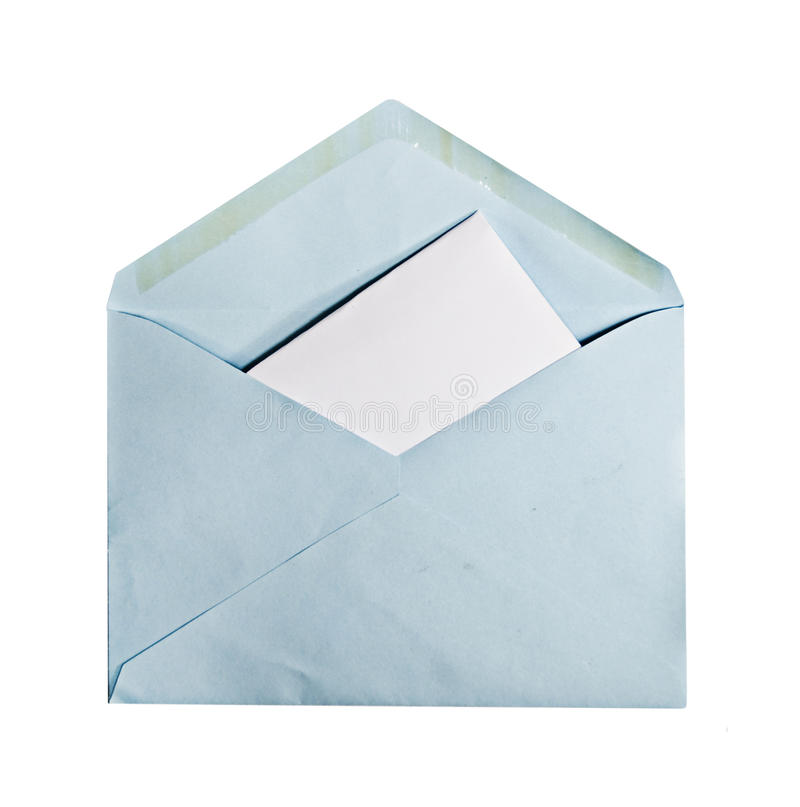 Blue Envelope With Letter Inside stock photos
