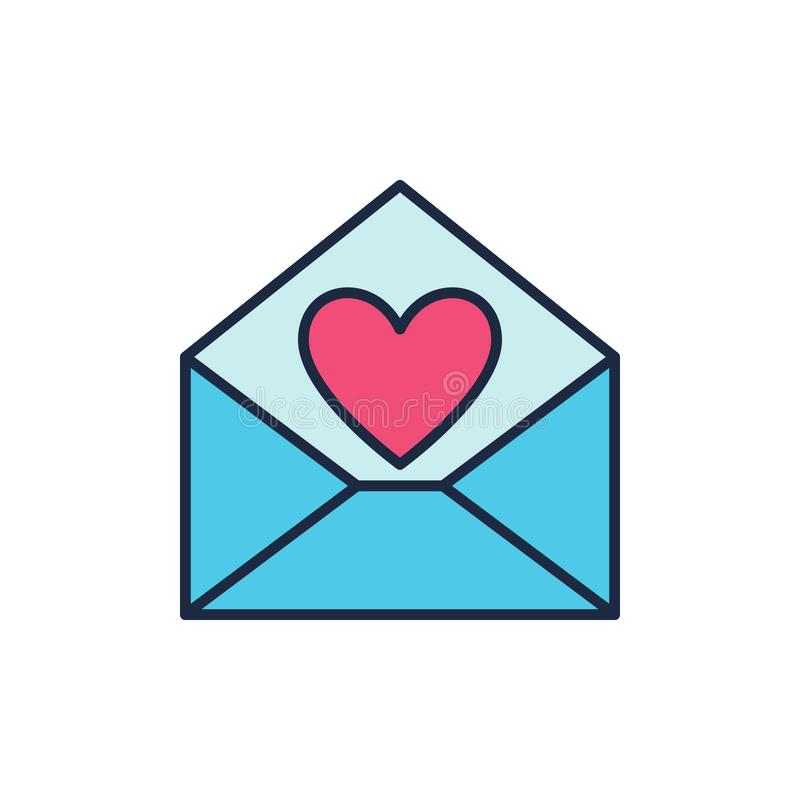 Blue Envelope with Red Heart vector icon. Love letter symbol vector illustration