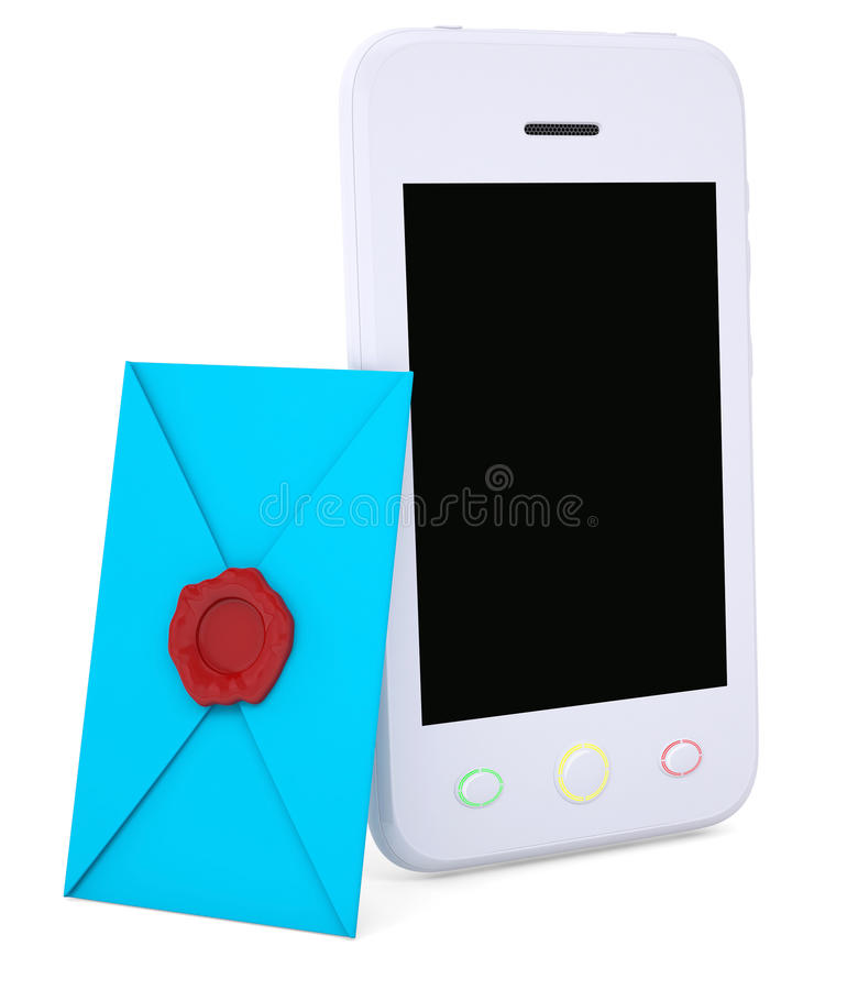 Blue Envelope And Smartphone Royalty Free Stock Images