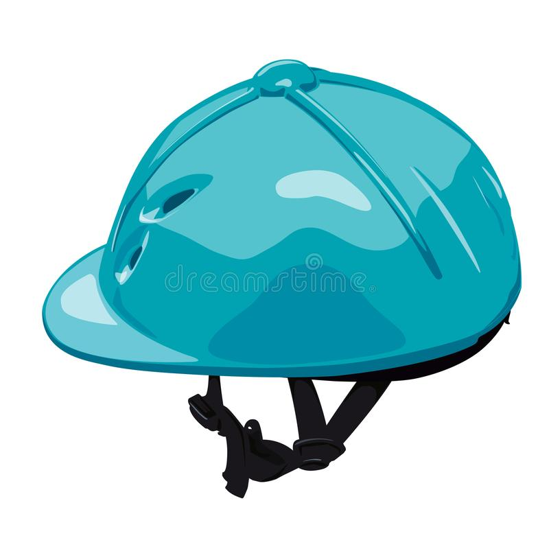 Blue equestrian riding helmet. Isolated jockey protection on white background. Blue vector riding helmet. Isolated jockey protection on white background royalty free illustration