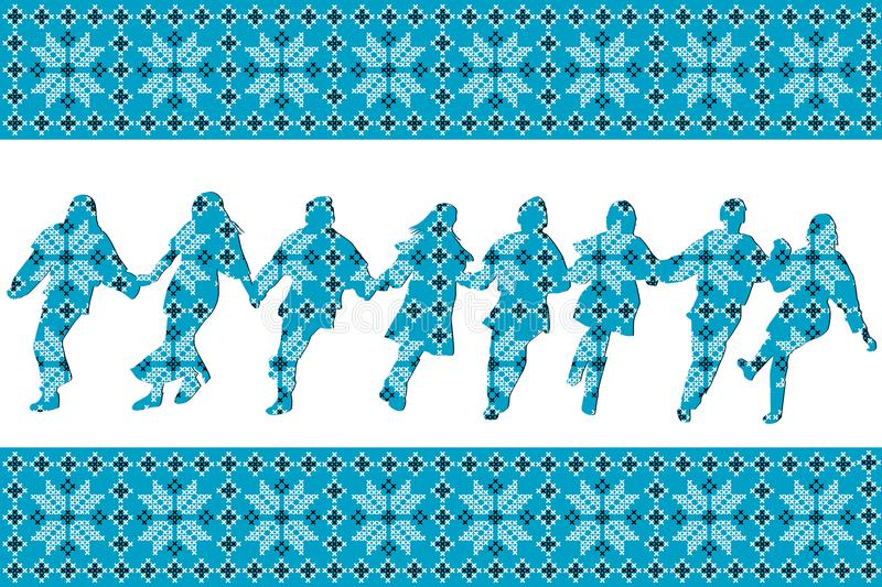 Blue ethnic background with traditional dancers. Blue ethnic motifs background with traditional dancers silhouettes vector illustration