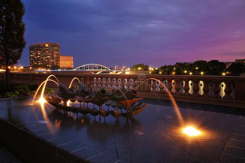 Blue evening in columbus royalty free stock photography