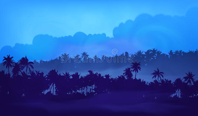 Blue evening light cloudy sky with palm trees tropical forest silhouettes in fog, vector illustration banner background.  stock illustration