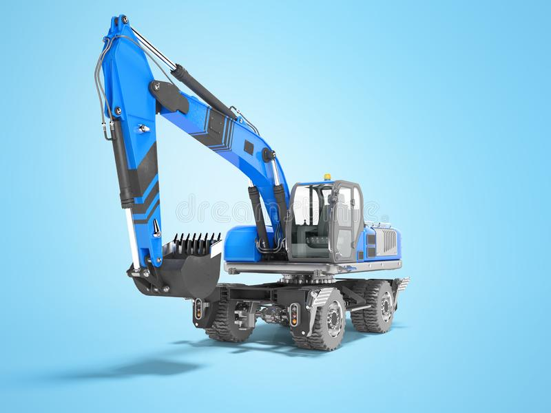 Blue excavator loader wheel isolated 3D render on blue background with shadow. Blue excavator loader wheel isolated 3D render on blue background royalty free illustration
