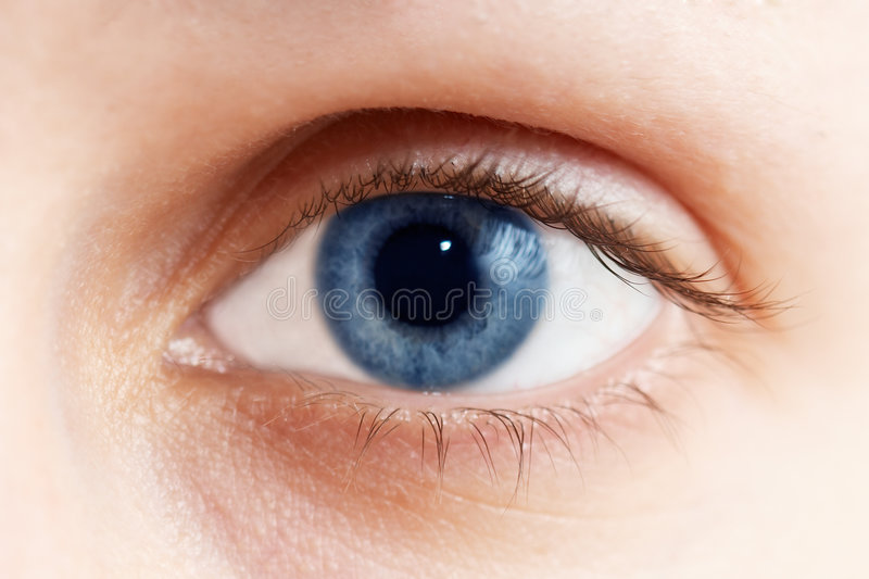 Blue eye. Color photo with blue eye stock photography