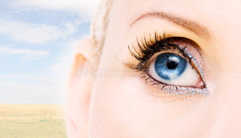 Blue eye. Blue woman's eye. on sky background royalty free stock photos