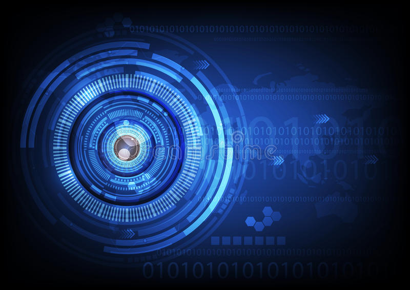 Blue eye ball abstract cyber future technology concept background, illustration. royalty free stock photo
