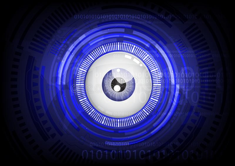 Blue eye ball abstract cyber future technology concept background. Illustration vector vector illustration