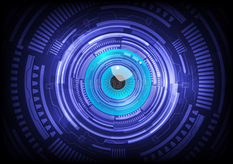 Blue eye ball abstract cyber future technology concept background. Illustration vector royalty free illustration