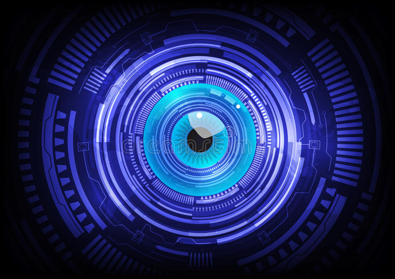 Blue eye ball abstract cyber future technology vector illustration