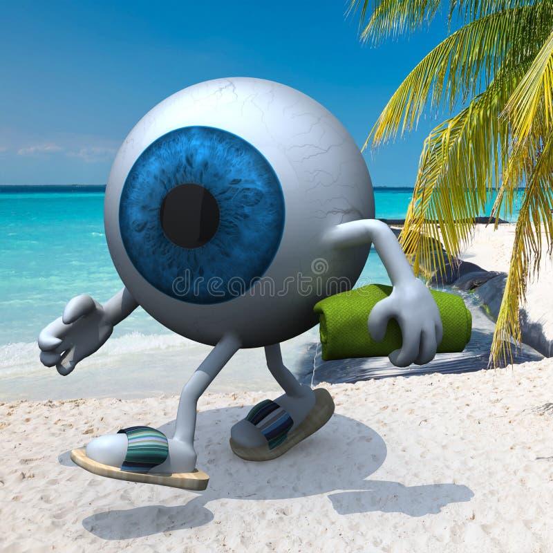 Blue eye ball on the beach. Blue eye ball with arms, legs, sandals and towel on the beach, 3d illustration vector illustration