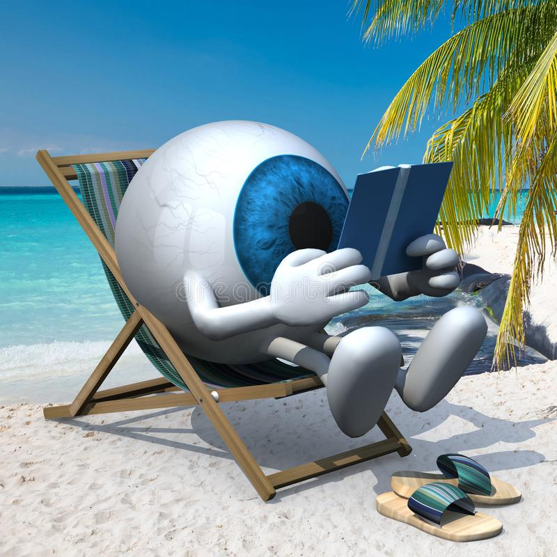 Blue eye ball on the beach. Blue eye ball with arms, legs and sandals on the beach chair reading a book, 3d illustration royalty free illustration