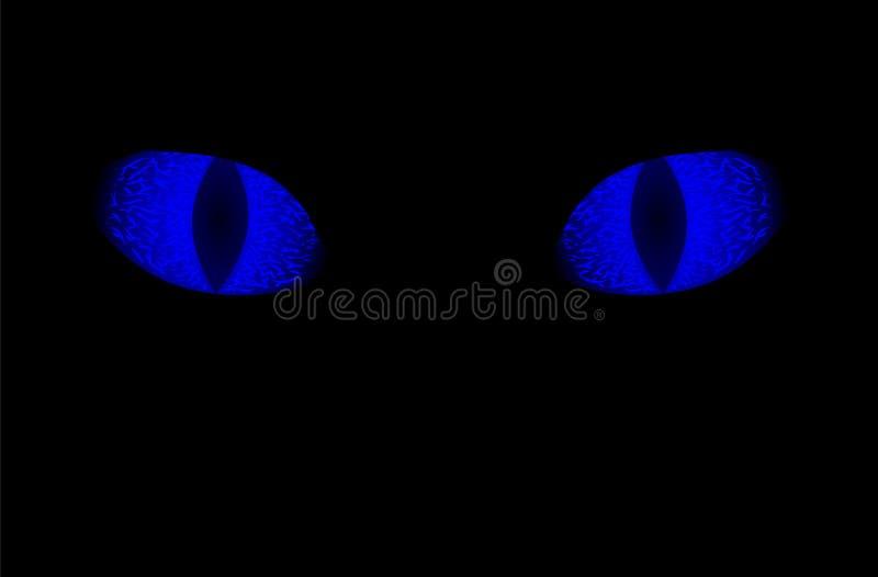 Blue eye on black background. Scary animal sight. Glowing blue eyes of animal on black background. Neon blue eye with vertical pupil. Blue eye on black vector illustration
