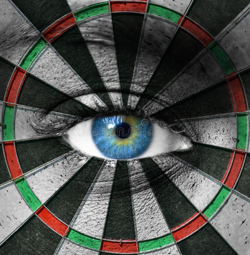 Blue eye and dartboard. This image represents the Blue eye and dartboard stock photography
