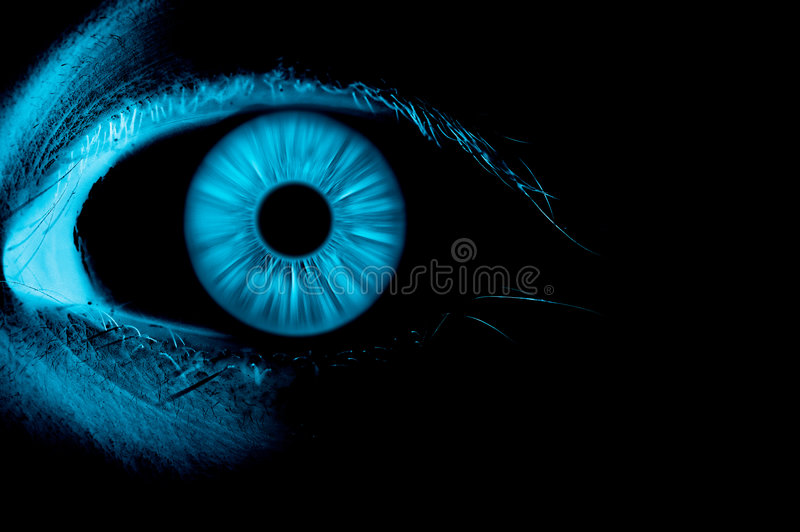 Blue eye on focus. Fluorescent blue eye on focus royalty free illustration