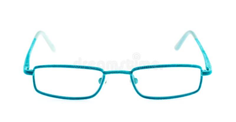 Blue eye glasses. Front of blue eye glasses isolated on white background stock photo