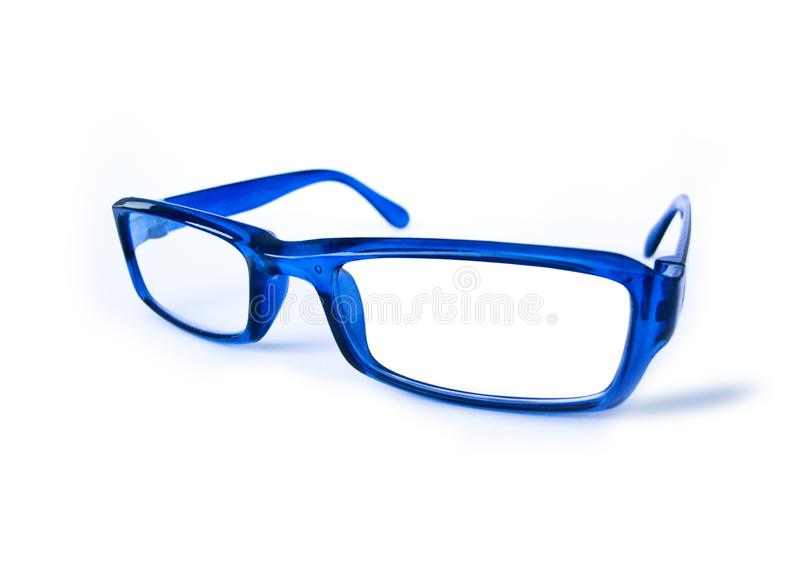 Blue Eye glasses. Isolated on white royalty free stock photo
