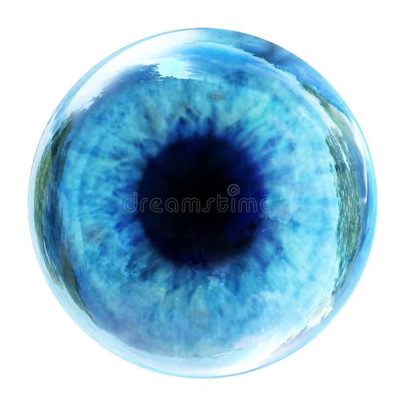 Blue eye. Isolated on white stock image