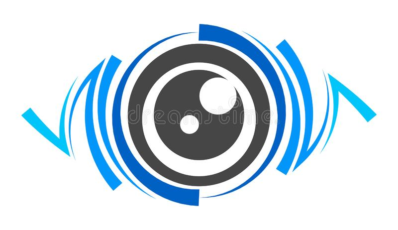 Blue eye lens logo. On a white background stock illustration