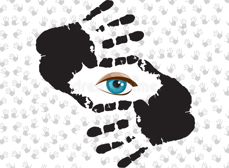 Blue Eye Looking At You Through Hand Frame. Stock Vector ...