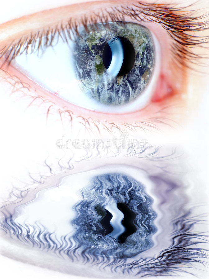 Blue eye in macro with earth map. On iris and water reflection ,extreme detail royalty free stock image