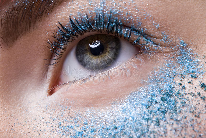 Blue Eye Shadow stock photography