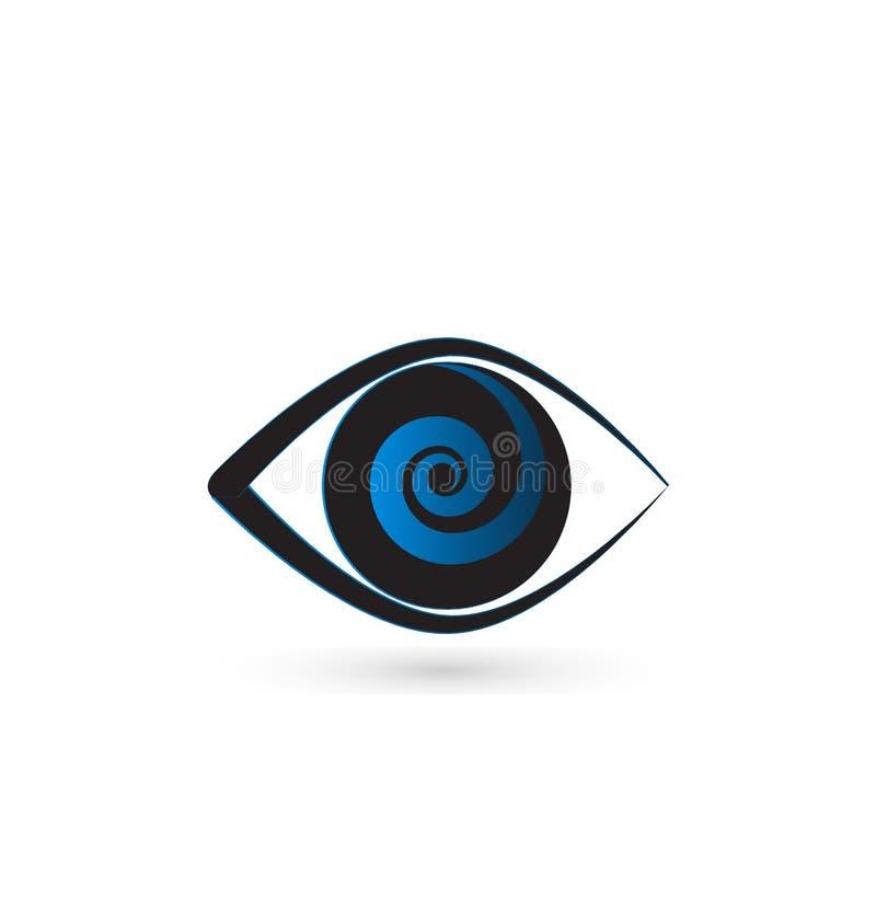 Blue eye swirly iris vector icon. Optical business graphic design stock illustration
