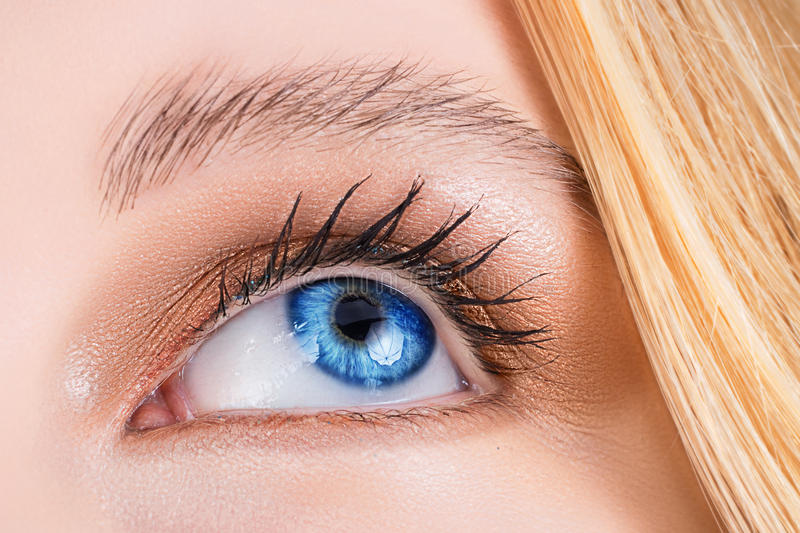 Download Blue eye of a woman. stock photo. Image of macro, bright - 9412680