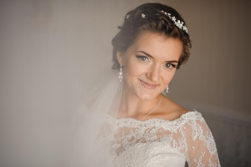 Bride in dress, veil and make-up gently smiles royalty free stock photos