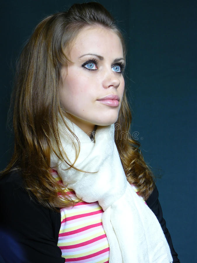 Download Blue-eyed Brown-haired Woman In A White Scarf Stock Image - Image: 11851863