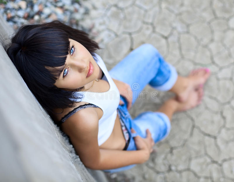 Blue-eyed girl royalty free stock photos