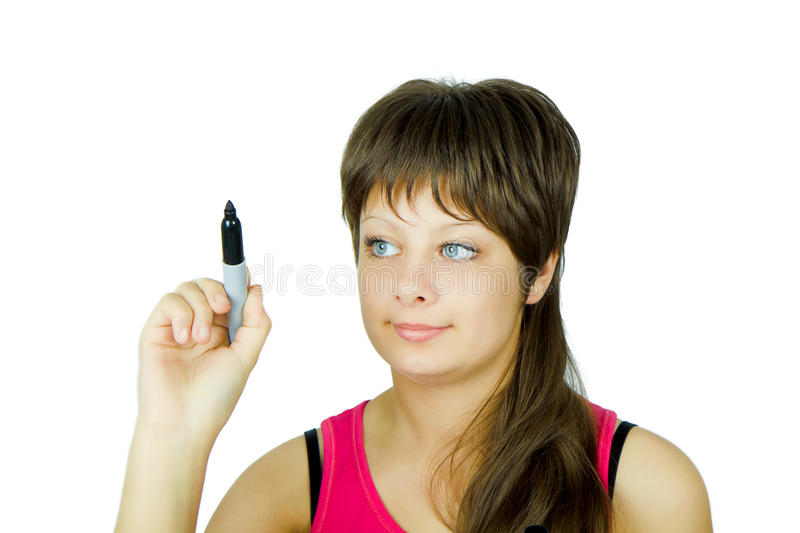 Download Blue-eyed Girl With A Marker Stock Photos - Image: 17261633