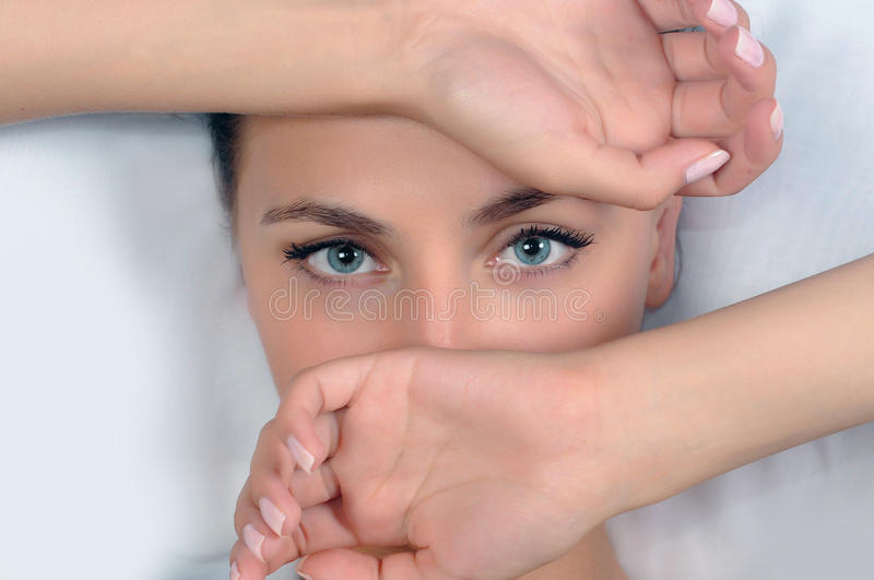 Download Blue eyes stock photo. Image of hands, hair, closeup - 10254536