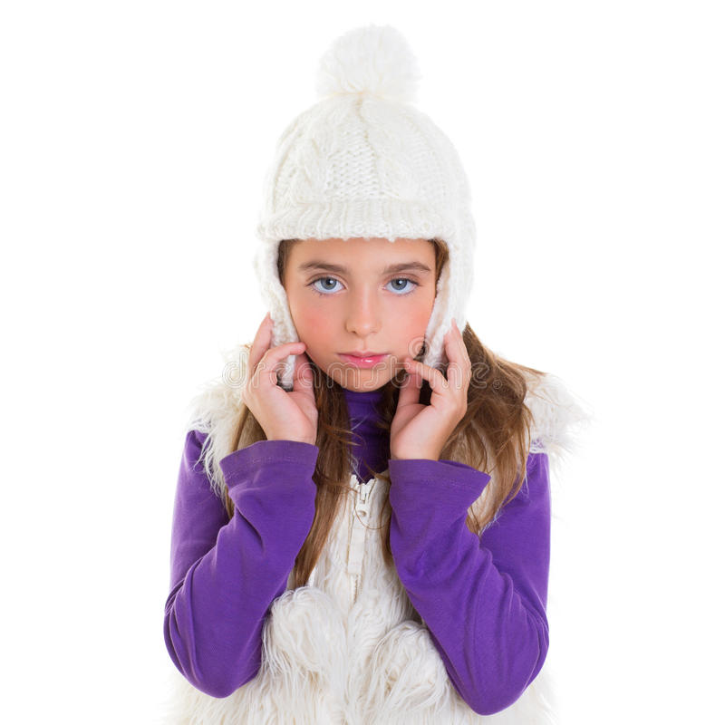 Download Blue Eyes Child Kid Girl With White Winter Cap Fur Stock Image - Image: 28521777