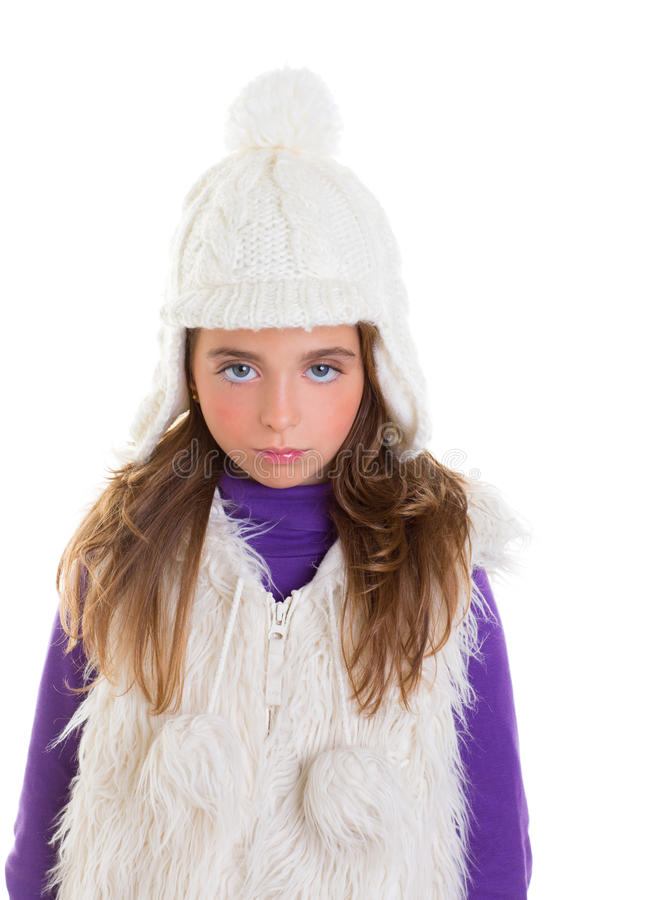Download Blue Eyes Child Kid Girl With White Winter Cap Fur Stock Image - Image of female, beauty: 28522147