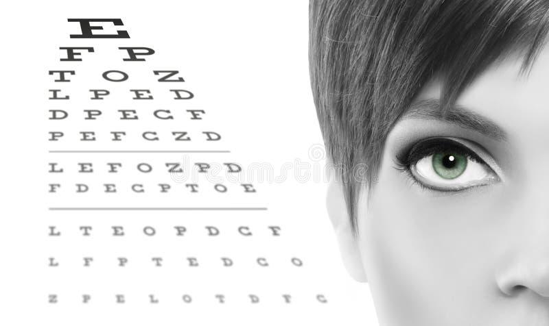blue eyes close up on visual test chart, eyesight and eye examination concept in white background stock image
