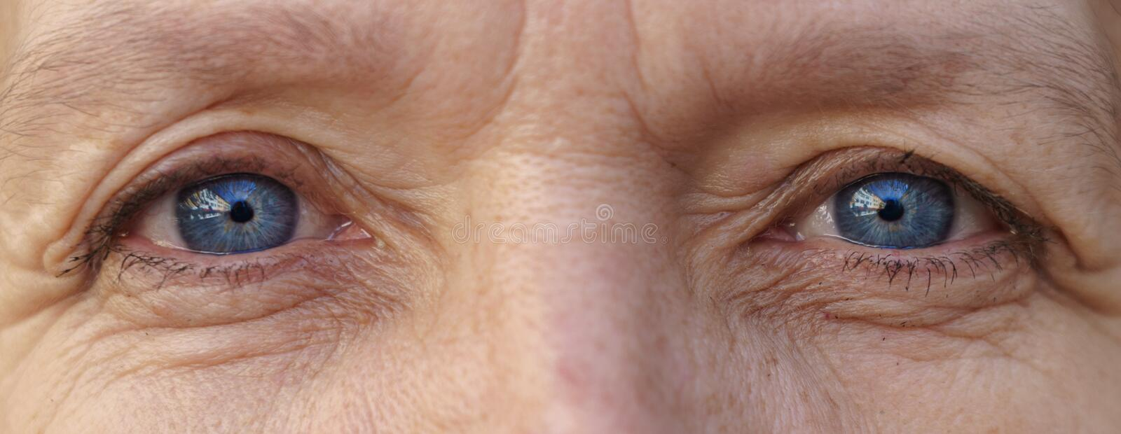 Blue eyes of an elderly woman in close up view stock images