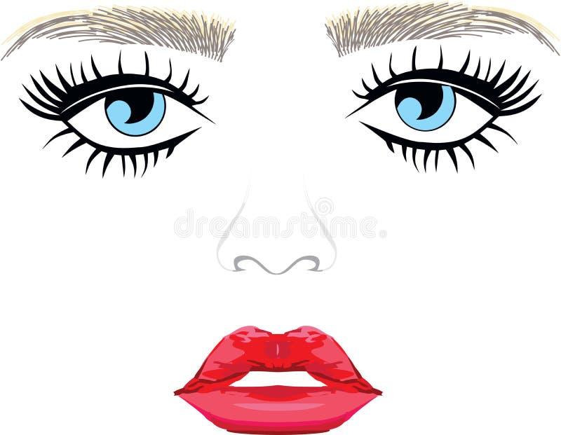 Blue Eyes and lips. Eyes and lips long eyelashes threading stock illustration