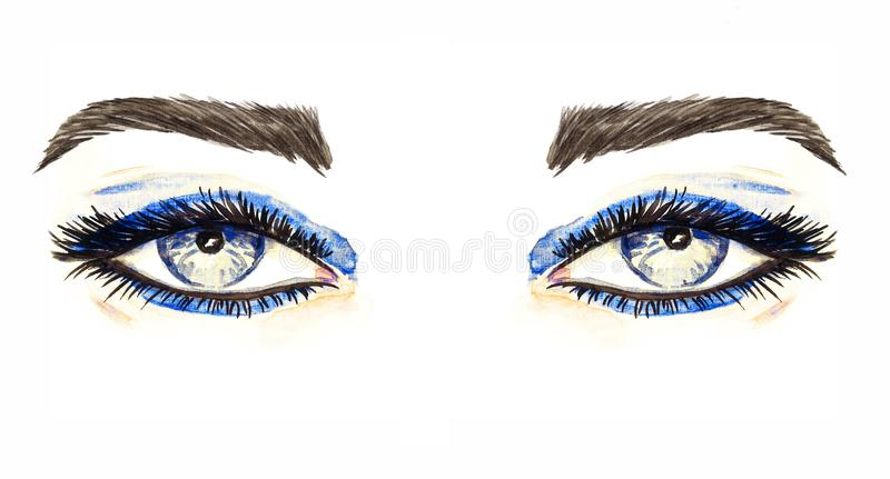 Blue eyes with makeup, blue eyeshadows, mascara, brown eyebrows, hand painted watercolor fashion illustration isolated on white royalty free illustration