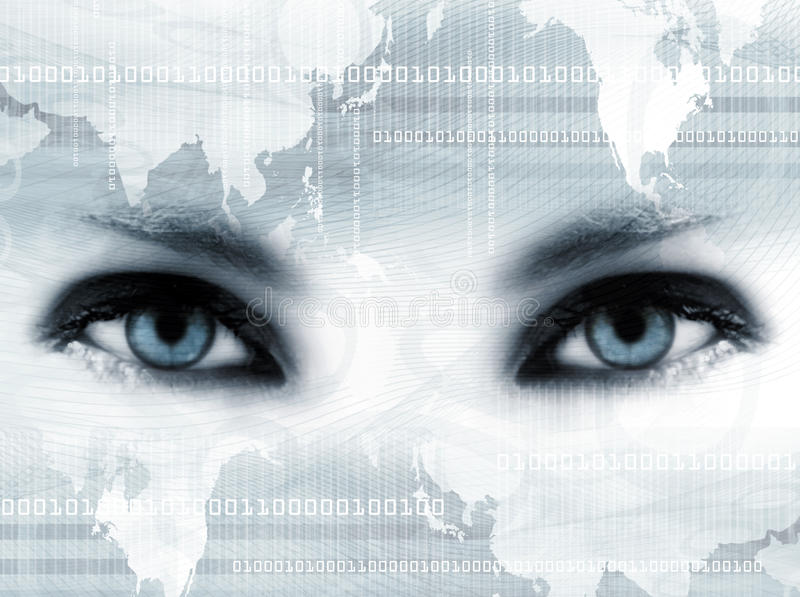 Blue eyes and map stock images