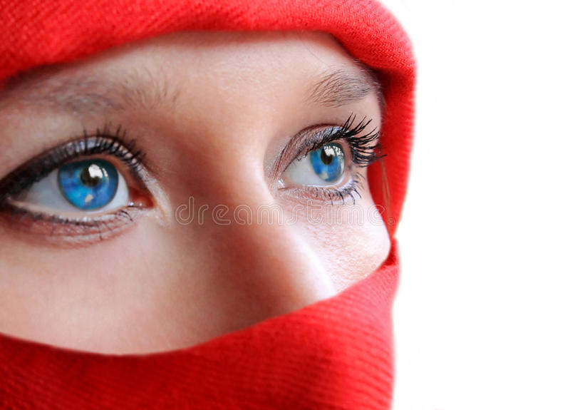 Blue eyes ninja woman. Arabic style blue eyes beauty woman royalty free stock images