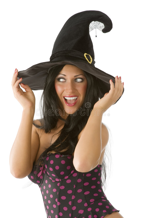 Blue eyes witch hat royalty free stock photography
