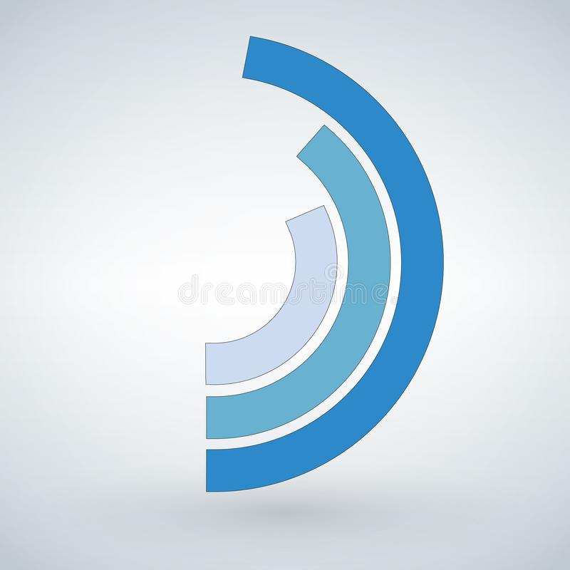 Blue f circle percentage diagram for infographics. Vector illustration isolated on modern background. stock illustration