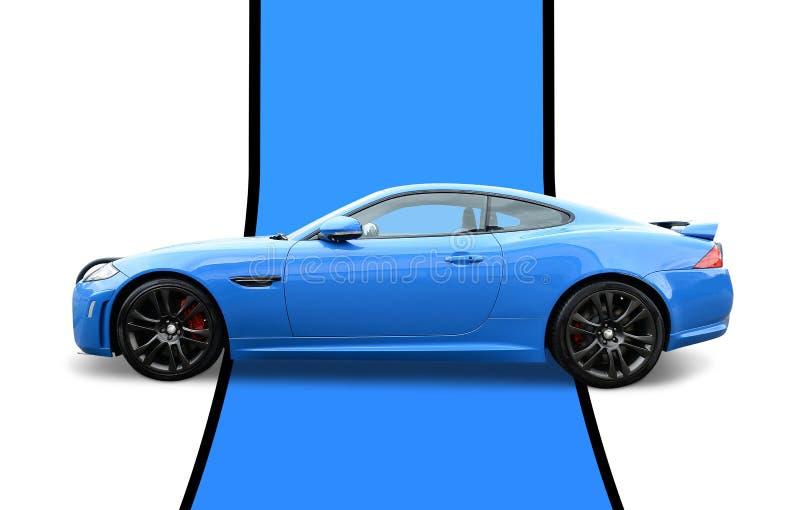 Blue F-type Jaguar stock photos
