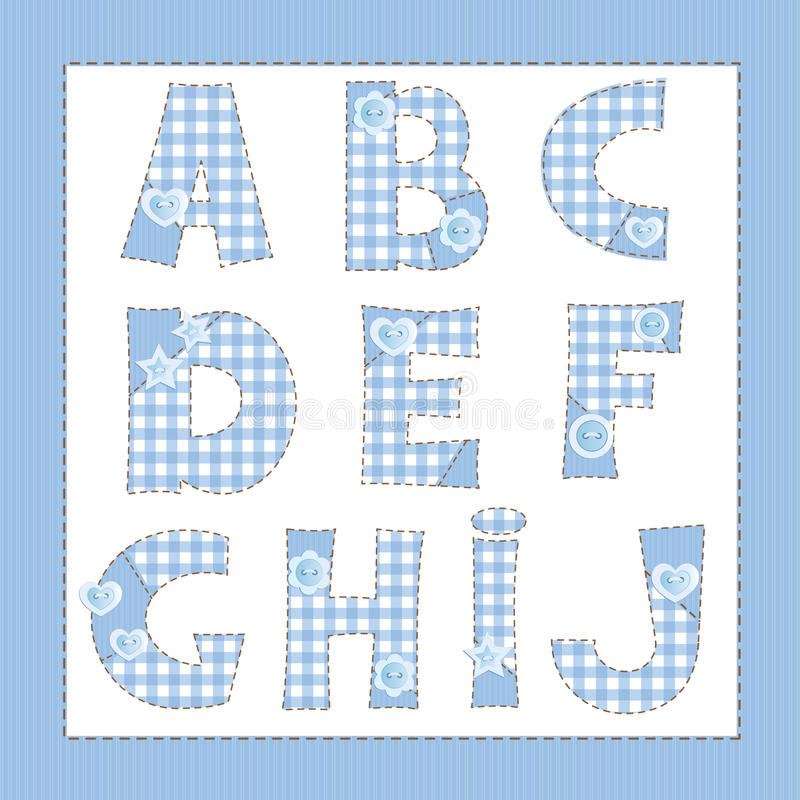Blue fabric alphabet. royalty free illustration
