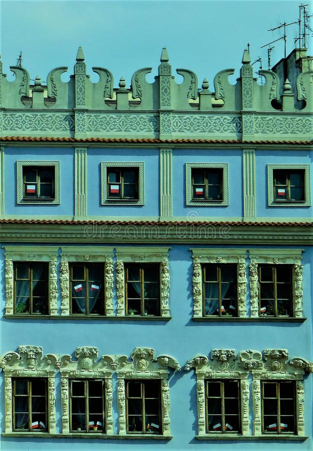 Blue facade of a beautiful Renaissance house in Lublin, Poland stock images