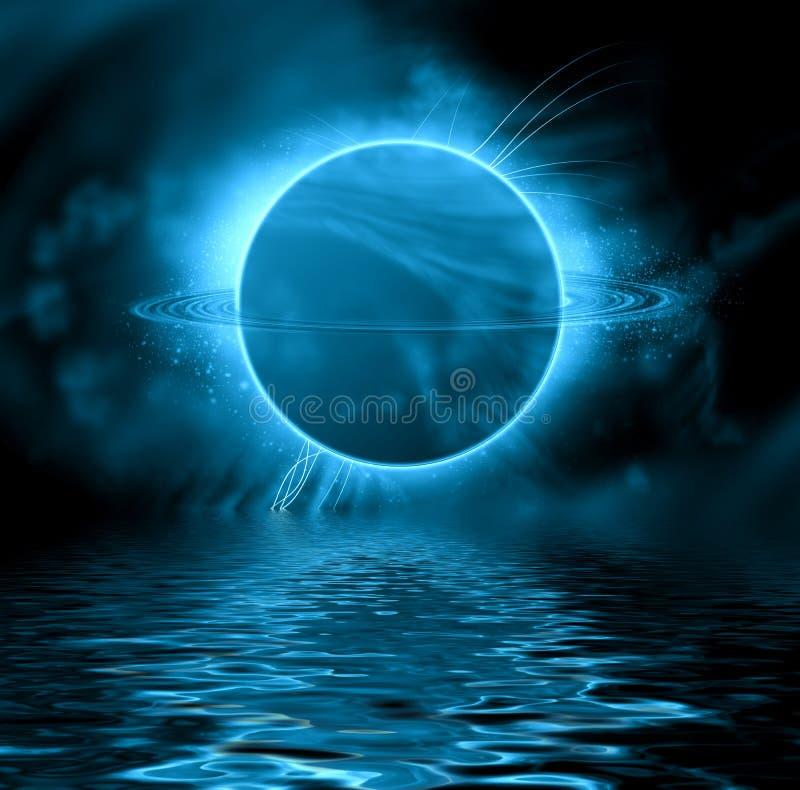 Blue fantasy planet. stock illustration